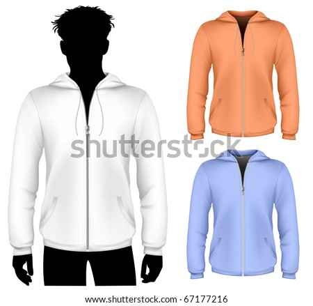 Vector. Hooded sweatshirt with zipper design template. - stock vector