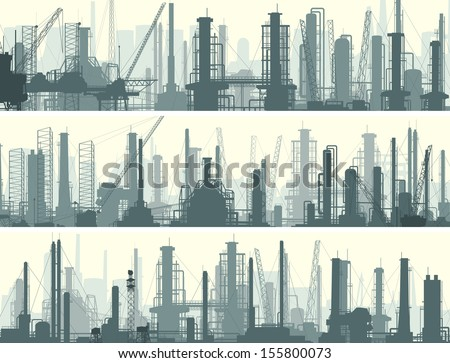 Vector horizontal banner: industrial part of city with factories, refineries and power plants. - stock vector