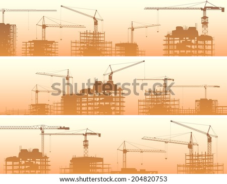 Vector horizontal banner of construction site with cranes and skyscraper under construction in orange smog. - stock vector