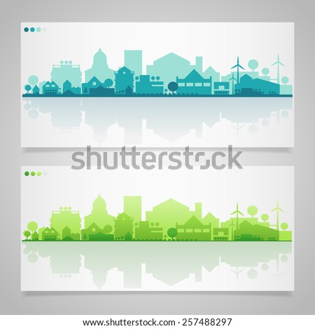 Vector horizontal banners of small town or village with relections - stock vector