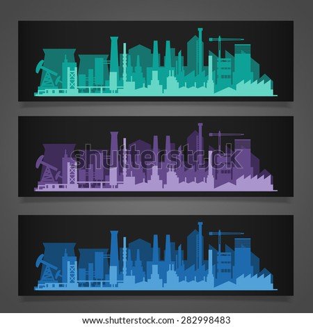 Vector horizontal banners skyline Kit with industrial parts of city: factories, power plants. Illustration divided on layers for create parallax effect - stock vector