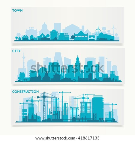 Vector horizontal banners skyline Kit with various parts of city: constructions, factories, refineries and small towns or suburbs. Illustration divided on layers for create parallax effect - stock vector