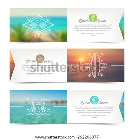 Vector horizontal banners with line drawing summer vacation and travel signs and emblems - stock vector