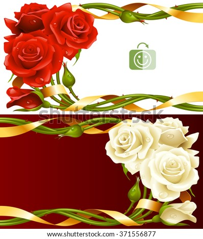Vector horizontal frame set of red and white roses intertwined with a golden ribbon - stock vector