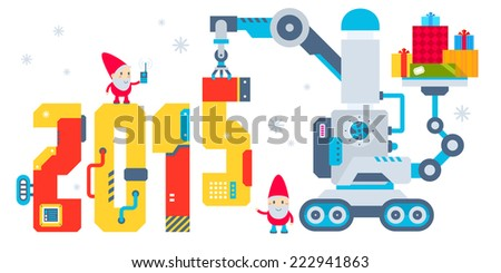 Vector horizontal illustration of the gnome operates the machine that puts presents and puts the number 2015. Color bright flat design for card, banner, poster, advertising, blog  - stock vector