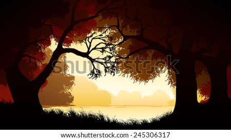 Vector horizontal illustration of view from deciduous forest with trees at lake. - stock vector
