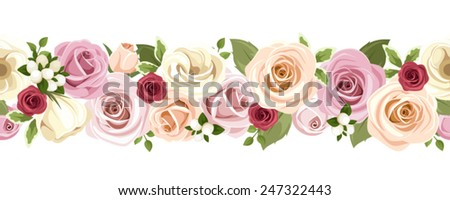 Vector horizontal seamless background with pink, orange, purple, red and white roses and lisianthus flowers and green leaves on a white background. - stock vector