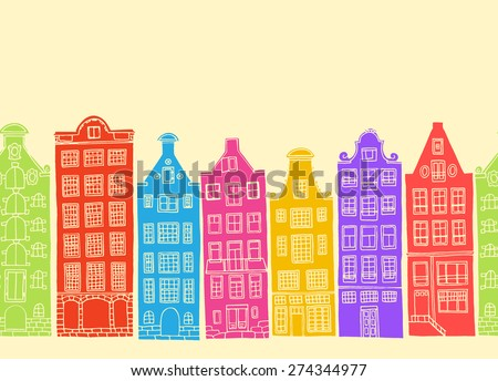 Vector horizontal seamless pattern with hand drawn old Amsterdam houses.  - stock vector