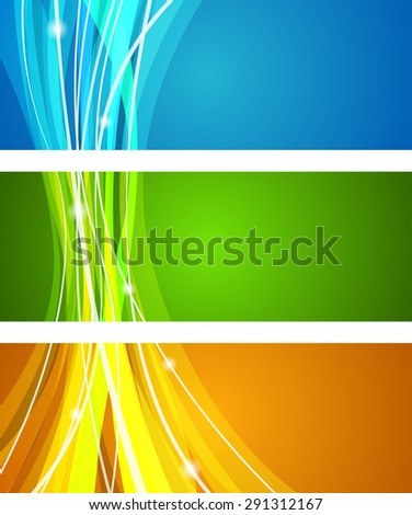 Vector horizontal web banner design with colorful stripes theme. - stock vector