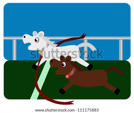 Vector - Horse racing.White horse is the winner. - stock vector