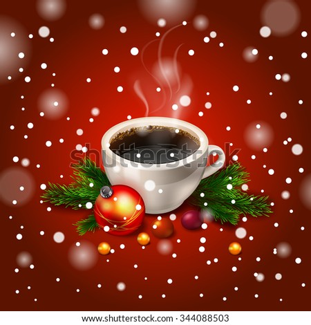 vector Hot Coffee cup on a frosty winter cup of coffee - stock vector