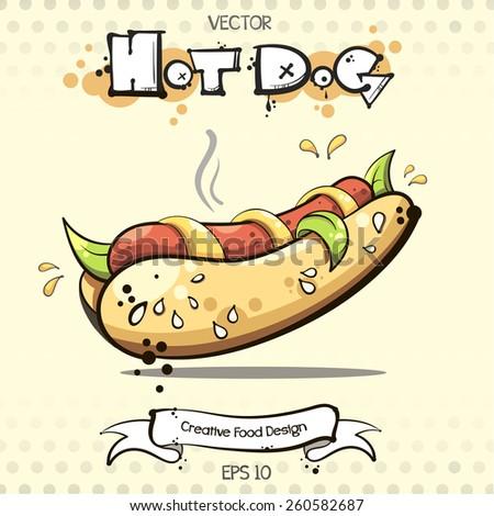 vector. hot dog. creative food design - stock vector