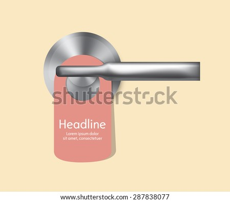 Vector hotel handles with hanging signs. Isolated. Vector illustration. - stock vector