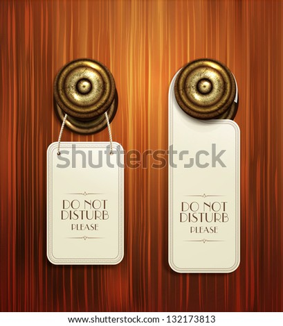 Vector hotel handles with hanging signs on the wooden background - stock vector