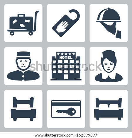 Vector hotel icons set: luggage cart, 'do not disturb' sign, dish, receptionist, five-star hotel, chambermaid, single bed, key card, double bed - stock vector