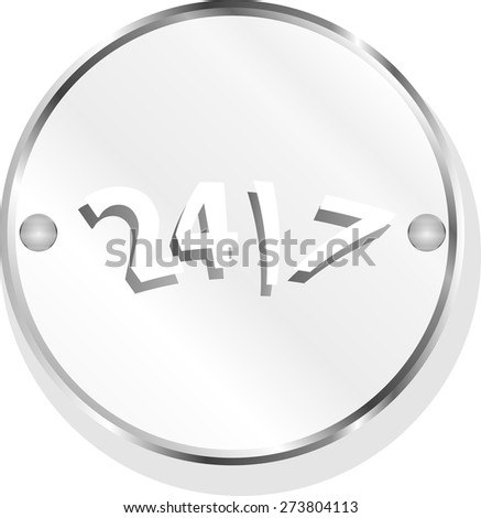 vector 24 hour button web icon isolated on white - stock vector