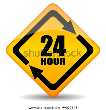 Vector 24 hour customers support sign, eps10 illustration - stock vector