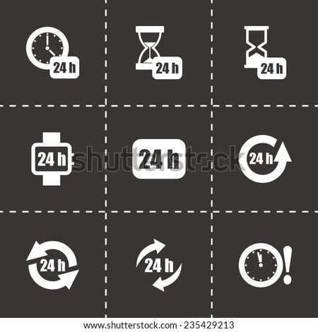 Vector 24 hours icon set on black background - stock vector