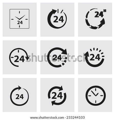 Vector 24 hours icon set on grey background - stock vector