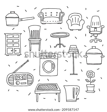 Vector house furniture and appliances icons set isolated on white background - stock vector