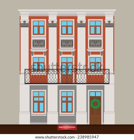 Vector house in Regency Classicism. Classical town architecture. House with columns. Dwelling house. Vector building. City infrastructure. Cityscape old beautiful building in retro style. Real estate. - stock vector