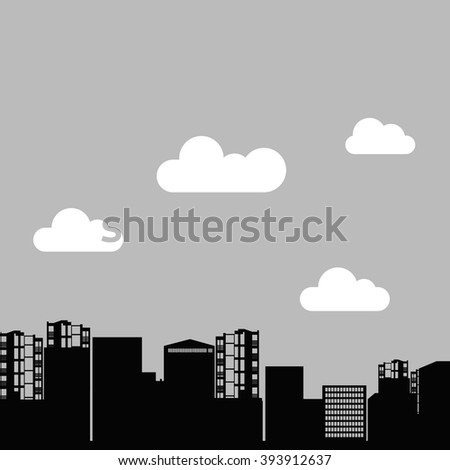 vector house silhouette skyscraper windows building roof - stock vector