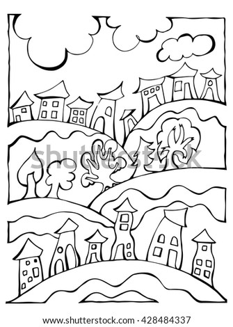 Vector houses and trees black white landscape illustration for painting - stock vector