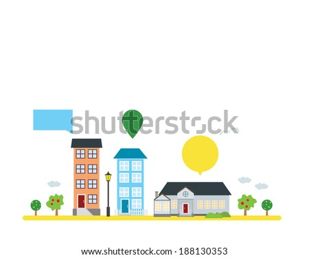 vector houses and trees, design elements, street. Flat style - stock vector