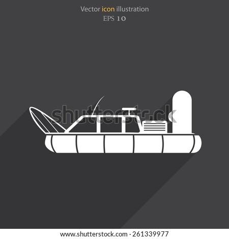 Vector hovercraft flat icon illustration. - stock vector