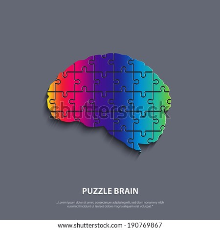Vector human brain composed of a puzzle. - stock vector