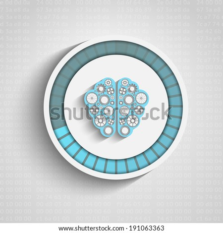 Vector human brain icon with gears and progress bar - stock vector
