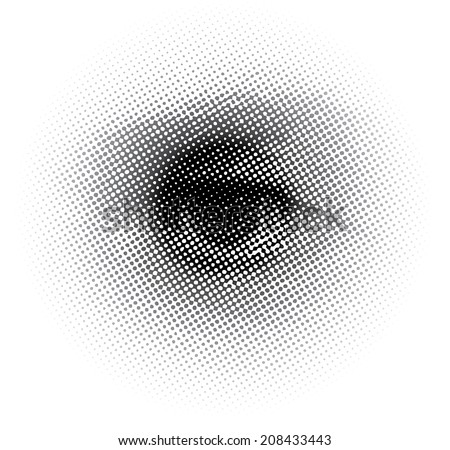 vector human eye with dotted raster  - stock vector