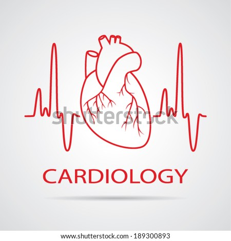vector human heart medical symbol of cardiology - stock vector