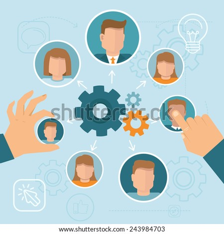 Vector human resource management concept in flat style - stock vector