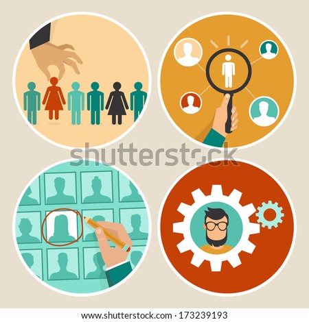 Vector  human resources concepts and icons  - hand holding woman icon - in flat style - stock vector