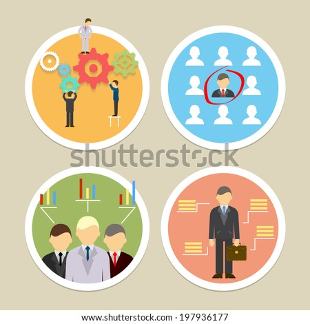 Vector human resources icons. Selecting business professionals and personnel - stock vector