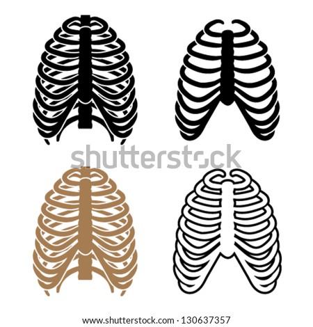Vector human rib cage symbols - stock vector