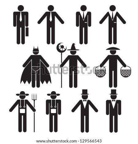 Vector human silhouettes to a set tasks - stock vector