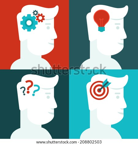 Vector human thinking concept - flat icons - men with ideas - stock vector