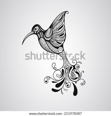 Vector Hummingbird, tattoo style, fully editable eps 10 file - stock vector