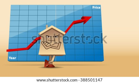 Vector Humorous Concept Illustration of Real Estate Market, Eps10 Vector, Gradient Mesh and Transparency Used, Raster Version Available - stock vector