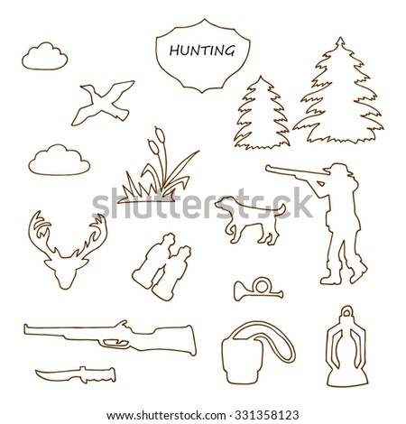Vector Hunting set. Hand drawn doodle hunting equipment - stock vector
