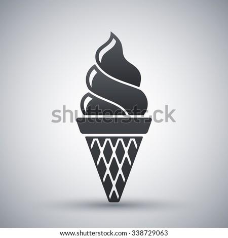 Vector ice cream cone icon - stock vector