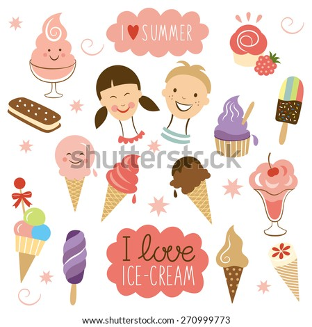 vector Ice Cream, sweet collection - stock vector