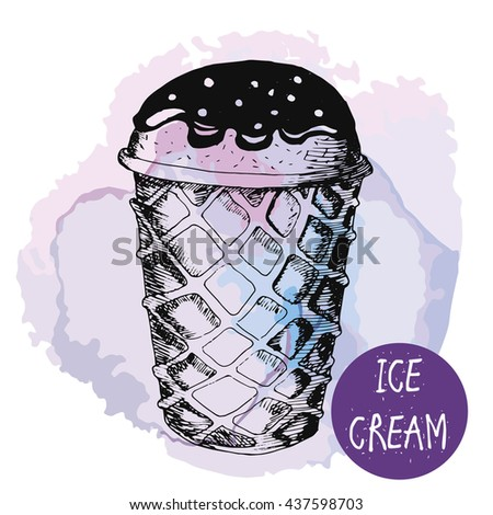 vector ice cream waffle cone watercolor on a lavender background. hand drawn sketch style. cone an chocolate. - stock vector