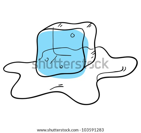 Ice Cubes Drawing Vector Ice Cube is Isolated on