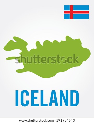 Vector Iceland Flag and Map Set - stock vector