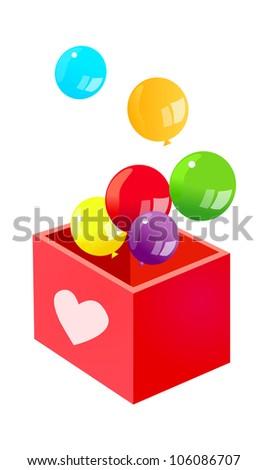 vector icon balloon and box - stock vector