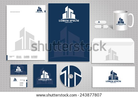 vector icon building, architectural firm logo, corporate design styling for the firm - stock vector
