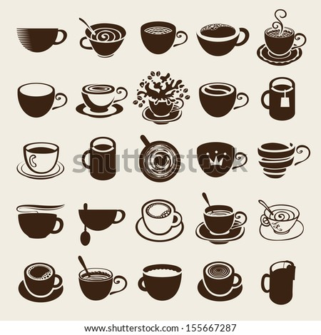 Vector icon collection Coffee cup and Tea cup - stock vector
